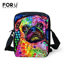 FORUDESIGNS Women Messenger Bags Colorful Pet Dog Printing Shoulder Bag Girls Cross Body Bag Pug Bulldog Messenger-Bag for Woman(China)