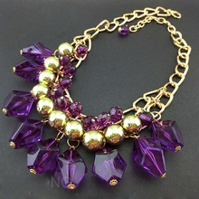 2 Colores Show New Brand Design Fashion Woman Sell Well Necklace Purple Bohemian Style Necklace(China)