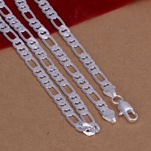 New High quality 925 stamped silver plated 6mm Flat Figaro chains men's necklace Colar de Prata For male wholesale 20inch(China)
