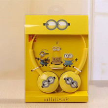 Cute Minions Headphones Big Headset with Mic for iphone Samsung Mobile Phones Foldable Minion Me Earbuds Best Gifts for Children