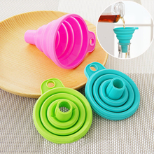 Kitchen Cooking Tools Accessories Silicone Gel Foldable Collapsible Style Funnel Hopper Portable Mini Easy to Use Random Color