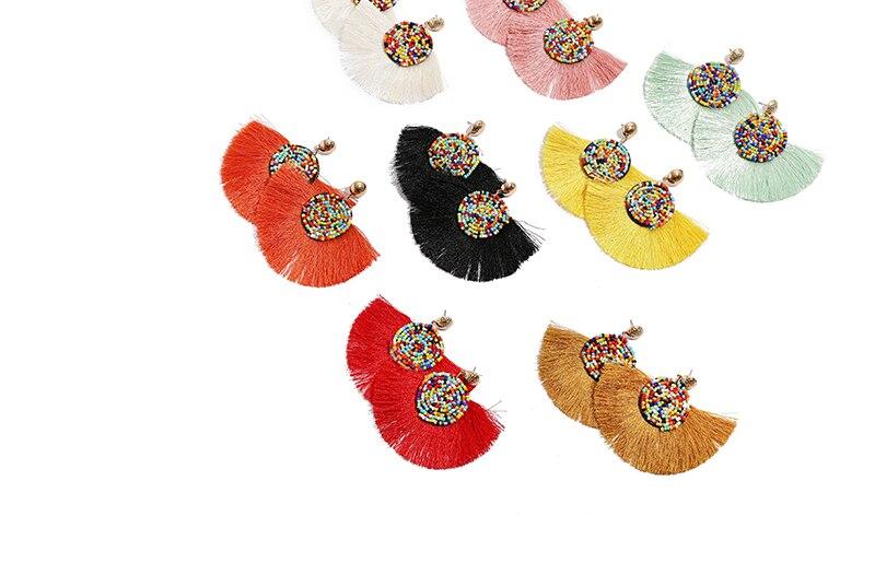 Korean Style Beads Tassel Earrings
