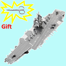 Piececool 3D Puzzle Toy Metal DIY Puzzles USS Enterprise CVN-65 Aircraft Carrier Model Kids Toys Military Ship Brinquedos