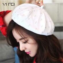 YIFEI New Beret Cap Hat Woman Retro French Painter Cross Print Equipped Elegant Ladies Black Hat Top Quality Artistic Pink Hats