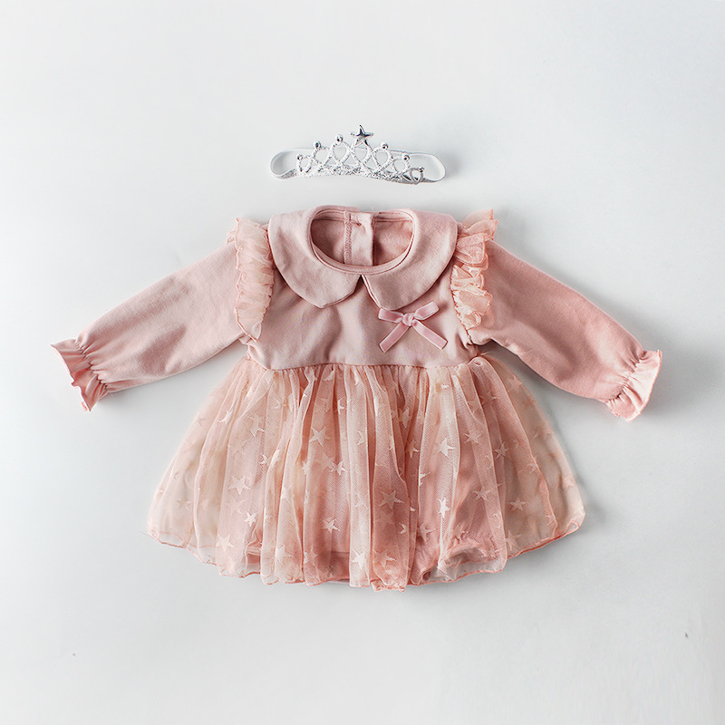 Girls Infant Stars Tutu Bow Baby Rompers Candy Color Birthday Party Spring Autumn Toddler Romper