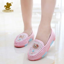 2016 New Girls Leather Shoes Toddler Sandal Princess Cartoon Hello Kitty Shoes Soft Girl Rhinestone Single Shoes Size 27-37
