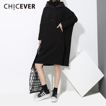 Buy CHICEVER Hooded PU Leather Black Women Dress Long Sleeve Loose Big Size Pullovers Dresses Female Clothes Fashion Casual 2018 for $31.44 in AliExpress store