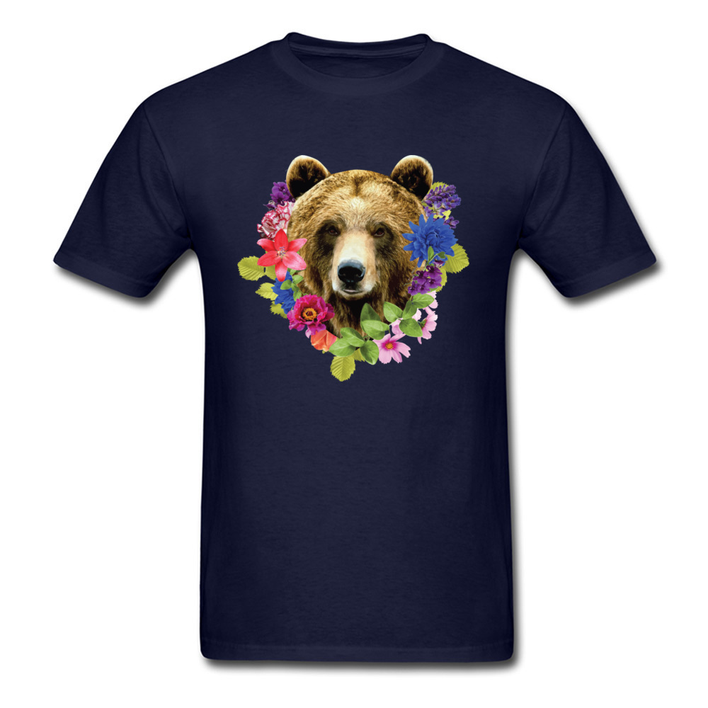 Floral Bearr Mens Fied Classic Tops T Shirt Round Collar Lovers Day Coon T-shirts Summer Short Sleeve Sweatshirts Floral Bearr navy