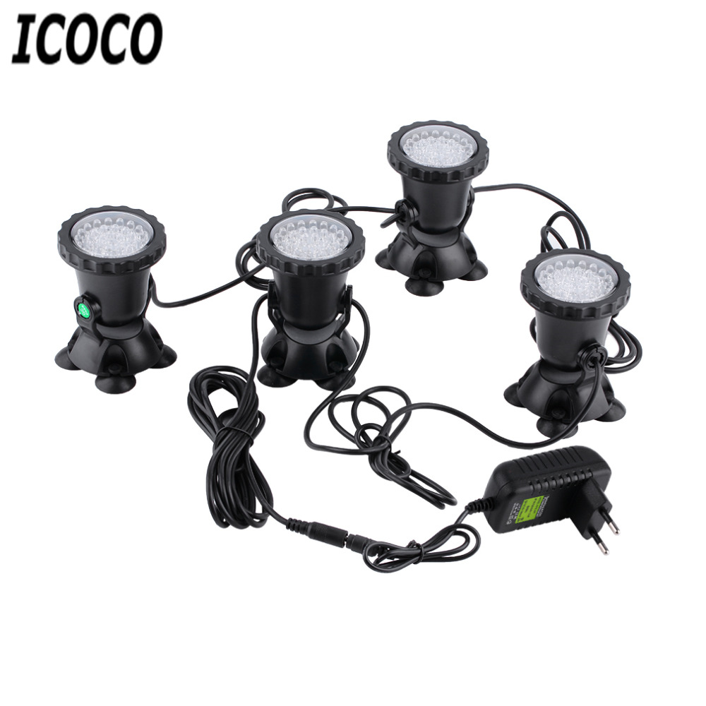 ICOCO New High Quality 4pcs Underwater Garden Fountain Fish Tank PooL Pond 36LED Spot Light for EU plug Wholesale Drop shipping(China (Mainland))