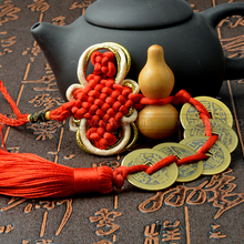 Fengshui Peach Wood Gourd Chinese knot Qing Dynasty Five Emperor Antique coins Kangxi Qianlong Car pendant home decoration(China)