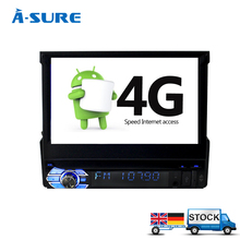 "A-Sure 6.7"" Single Din Android 6.0 Car Radio Player Universal GPS Navigation Quad core Stereo DAB+ WIFI Audio Player 1024*600(Hong Kong)"