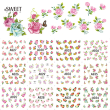 12Designs Sweet Nail Art Flower Stickers Mixed Pattern Water Transfer Nail Decals Temporary Tattoos Manicure Tool LAA025-036