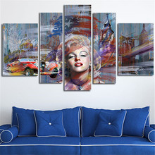 5 Panel Large Size Wall Painting Marilyn Monroe Canvas Art Picture Morden Posters Paintings Home Decoration Without Framed