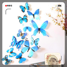 2017 12pcs butterflies dance Decal Wall Stickers Home Decorations 3D butterflies Rainbow Blue home decor(China)