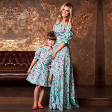 Fashion Elegant Style Long Dress Family Matching Mother Daughter Girl Dress Off Shoulder Ruffles Casual Maxi Floor Dress Clothes(China)