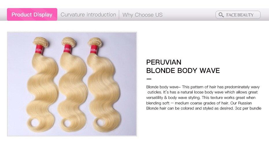 Facebeauty 613 Blonde Body Wave Hair Weave 4 Bundles Peruvian Virgin Human Hair Bundle Deals 12inch To 28inch Can Be Dye