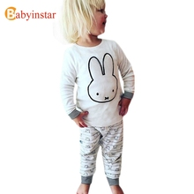 POPULAR Cute Cartoon Animal Pattern Kids Clothing Sets Spring Autumn Cotton t shirt + Pants 2 pcs Boys Girls Suits Casual Set