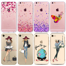 Watercolor Butterfly Pink Love Heart Travel Girl Case iphone 6 6s 7 5 5s se 7Plus 6Plus 4 4S Transparent Silicon Cases Cover