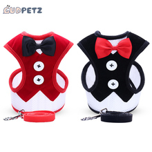 Pet Products Small Dog Harness Leash Set Pet Accessories Vest with Bowtie 120cm Dog Leashes for Easy Walking Patrol 7 Colors(China)