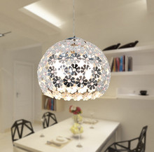 Beautiful Flower Crystal Pendant Light Modern Lighting Fixture Lustre Hanging Pendant Lamp for Dining Room Bedroom WPL034