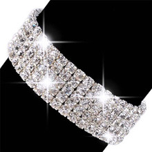 Women Wristband Bangle Wedding Bridal Jewelry Delicate 2 3 4 5 8 Rows Bling Full Crystal Rhinestone Stretch Bracelet Multicolor(China)