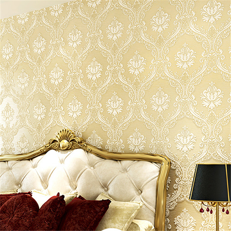 beibehang Simple European style living room wallpaper super thick 3D flocking bedroom backdrop non-woven wallpaper<br>