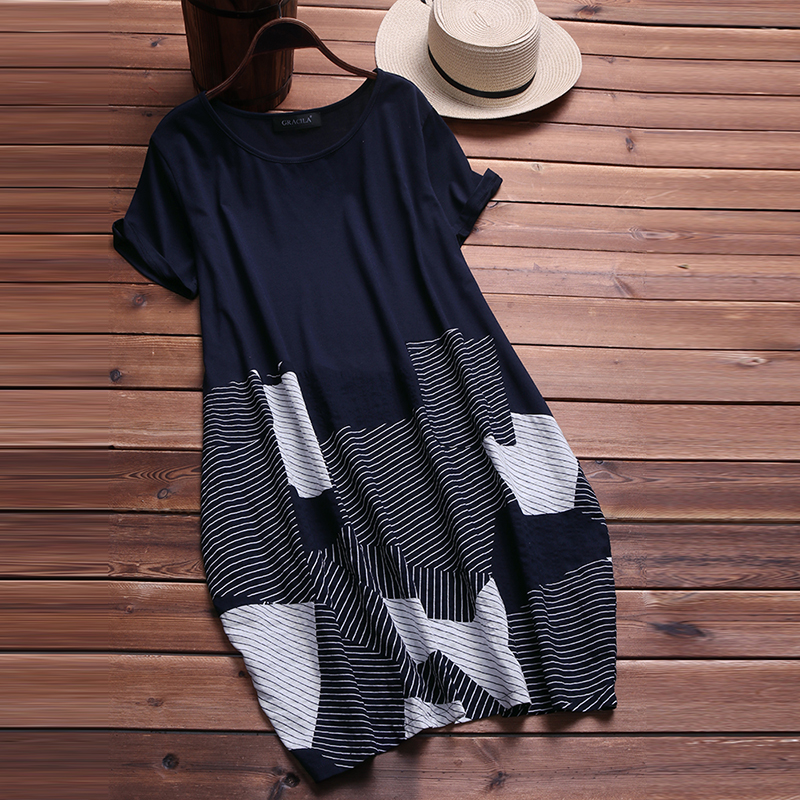 3ee16c5a3033 S 5XL Short Sleeve Loose Summer Long Shirt Vestidos 2018 Fashion Women  Casual O Neck Vintage Striped Patchwork Baggy Work Dress