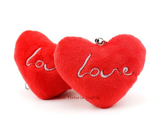 Super Kawaii Bouquet Plush Toys - RED Love Heart 7*5CM Stuffed Toy , String Pendant Chain TOY For Wedding Gift Bouquet