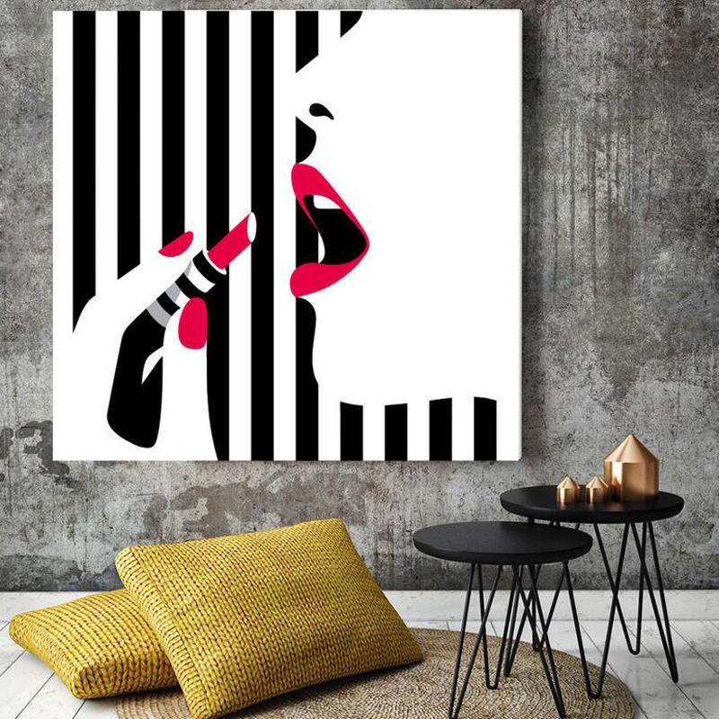 3075e.Polka Dress  Girl POSTER.Wall art decoration.Black /& White.Red Lips.