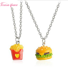 Loura Shace 2pcs Best Friends Forever Hamburgers French Fries Cartoon Necklaces Love Friendship Gift Kids Necklace Jewelery