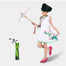 Children's cheongsam summer Tang suit Nation Summer baby girl dress Retro high-grade chiffon