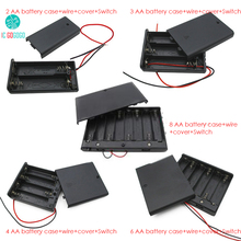 2pcs 2/3/4/6/8*AA Battery Case + Wire + Cover + Switch Storage Battery Holder Box Socket Plastic 2/3/4/6/8 Section(China)