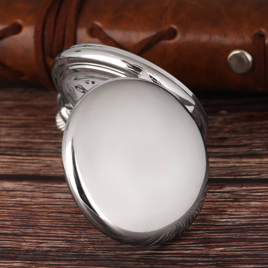 Cool Silver Full Smooth Quartz Pocket Watch Minimalist Round Fob Clock Men Women Concise Steampunk Pendant Gift Xmas Birthday (12)