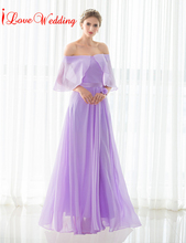 iLoveWedding Lavender Bridesmaid Dresses A-Line Floor-length Chiffon Pleat Off Shoulder Long Formal Party Bandage Gowns 12506