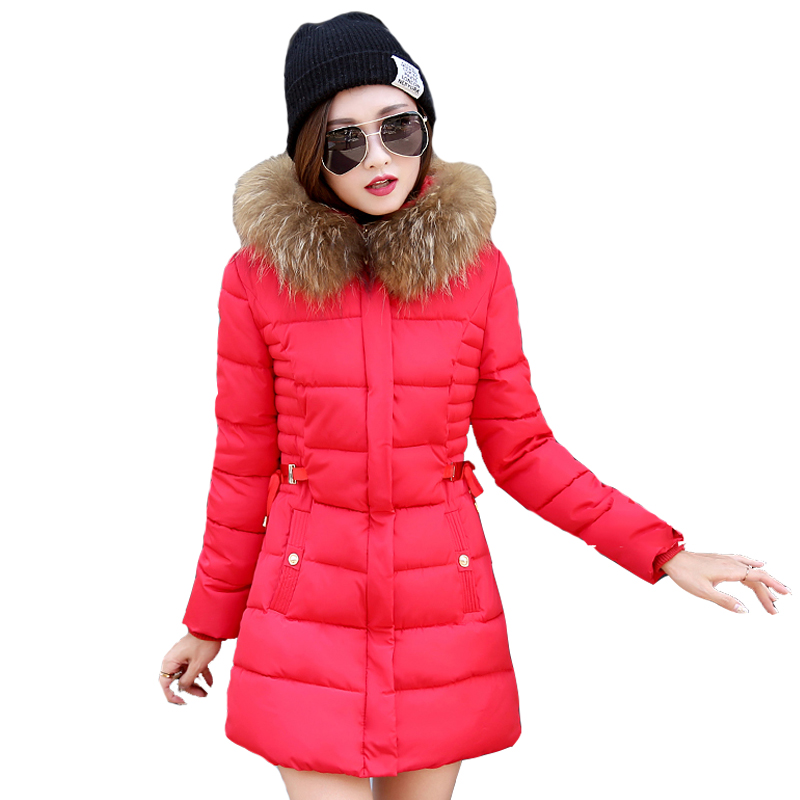 2017 New Women Thick Warm Winter Jacket Famle Coat Windbreaker Down Cotton Parka Cotton-padded Jacket Fur Collar Long OutwearÎäåæäà è àêñåññóàðû<br><br>
