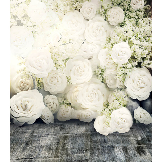 White roses  backdrops  High-grade Vinyl cloth Computer printed roses flower wood floor wedding photography background<br><br>Aliexpress