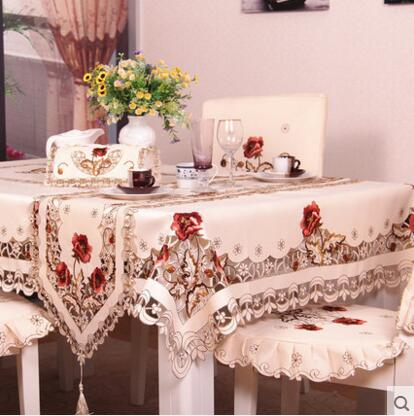 #220 square flower embroidery tablecloth table cloth