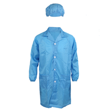 Men Women Blue Point Collar Anti Static Clean Room ESD Overall Gown w Cap XL(China)
