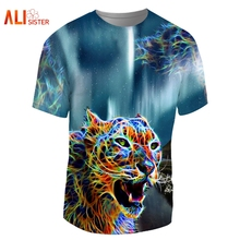 Alisister Hip Hop Animal T Shirt Men Women 3d Leopard Print T-shirts Crew Neck Undershirt Funny Couple's Brand Clothing Dropship(China)