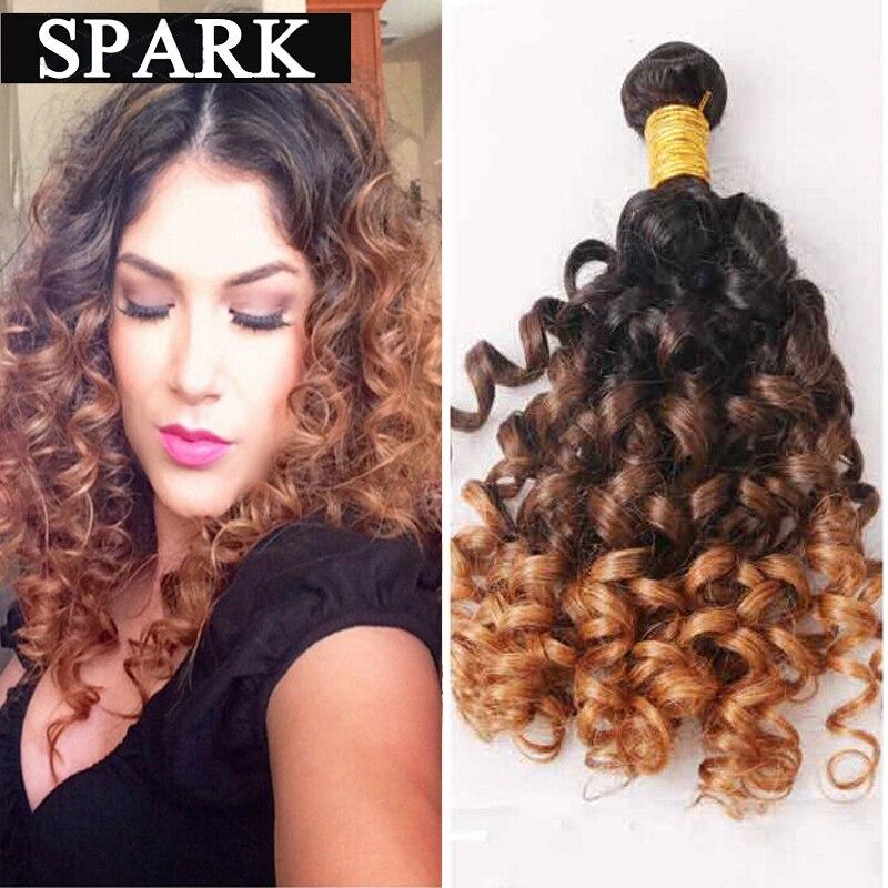 Ombre Brazilian Virgin Hair Jerry Spiral Curl Bouncy Curl 3pcs Ombre Human Hair Weave Bundles Brazilian Jerry Curly Mocha SC111<br><br>Aliexpress
