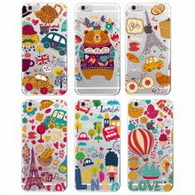 Cute Autumn Winter Warn Bear London Paris Cat Owl  Baguette Soft TPU phone Case Funda Coque For iphone 7 7Plus 6 6S 6Plus
