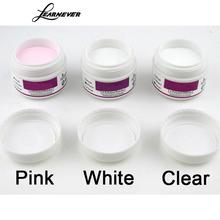 LEARNEVER 3 pcs/set Clear Pink Whit Pro Acrylic Crystal Powder Nail Arts Glitter powder Nail Art Nail Powder Polymer Builder(China)