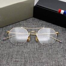 85021f0569c23 Retro Rodada Claro Óculos Ópticos Homens de Design Da Marca Do Vintage  Óculos de Armação Armações