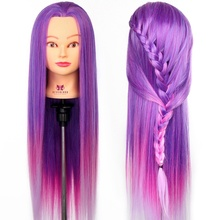 "26"" Practice Training Head colorful High Temperature Fiber Hair Model Hairdressing Mannequin Doll Clamp Purple & Pink(China)"