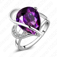 PATICO Latest Elegant Jewelry 925 Sterling Silver Cubic Zirconia Purple Water Drop Party Wedding Woman Ring Gift