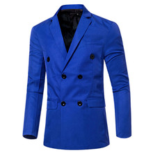 New Men Bright Color Slim Fit Semi Shiny Sport Coat Jacket Blazers 2 Button Double Breasted Coat 014