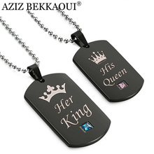 AZIZ BEKKAOUI Black Stainless Steel Couple Necklaces Her King & His Queen Crown Tag Pendant Necklace with Stone Dropshipping(China)