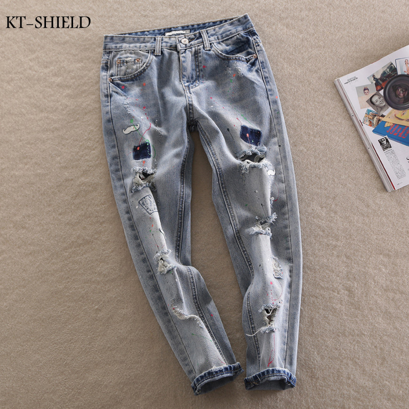 Skinny Jeans Women Fashion Women High Waist paint Jeans Femme Stretch Womens Denim Pants Women ripped Jeans Trousers Large SizeОдежда и ак�е��уары<br><br><br>Aliexpress