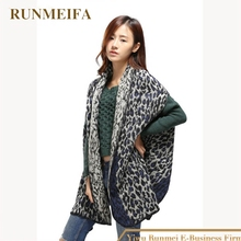 [RUNMEIFA] 2017 New Winter Women Oversize Poncho Leopard Grain Print Shawls Scarf Split Thick Dual-purpose Super Lady Cloak