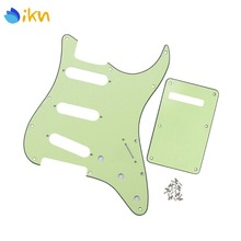 ikn Set of 3Ply Mint Green Guitar Pickguard Scratch Plate SSS 11 Holes & Cavity Cover Spring Cover Back Plate w/Screws for FD ST(China)